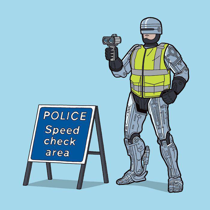 Робокоп проверят, кто нарушает скоростной режим.  Автор: Tom Ward.