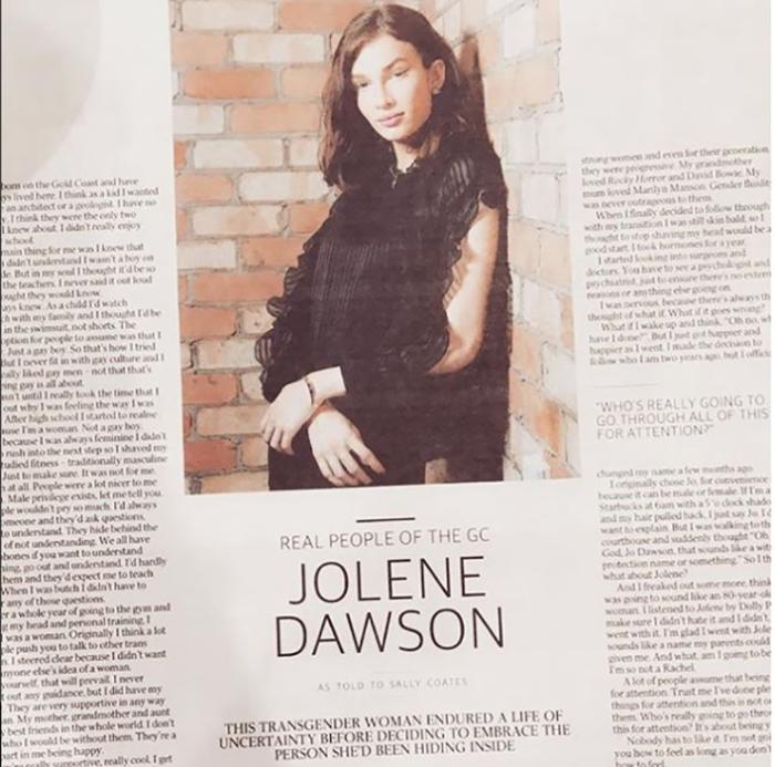 Статья в австралийском издании о трансгендерности Жолин. Instagram jolene.dawson.
