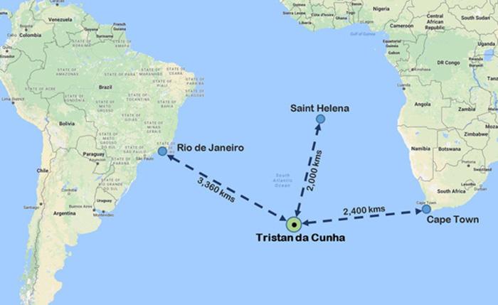 Расстояние от острова до ближайших поселений.