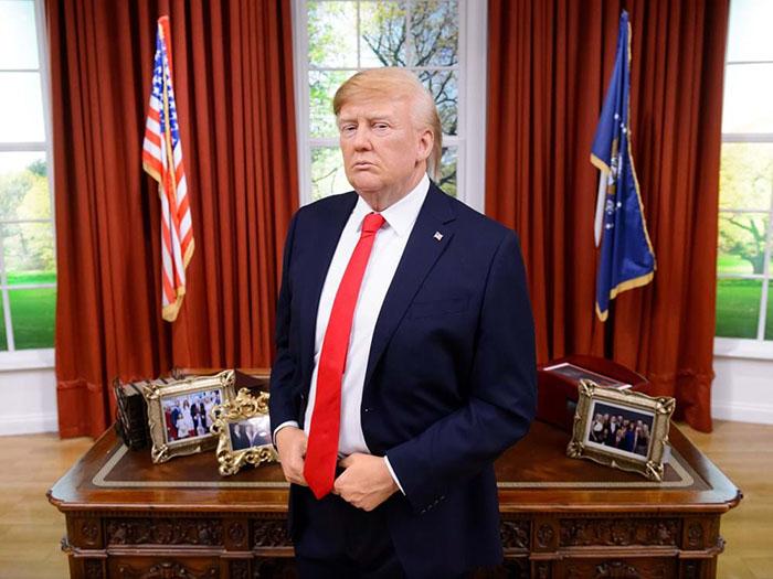 Восковая копия Дональда Трампа в музее мадам Тюссо.