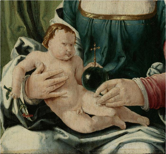 Лукас ван Лейден *Дева с ребенком* (фрагмент).