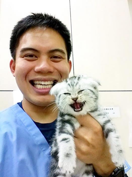 Мой друг опубликовал это фото с котенком во время своей интернатуры в Тайване. Другу пришлось заботиться о котенке в течение всего времени практики.