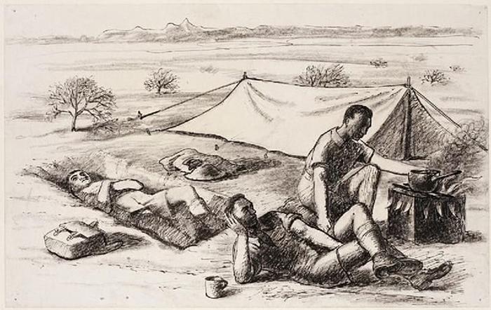 Набросок одного из британских солдатов, иллюстрирующий сценку заваривания чая.