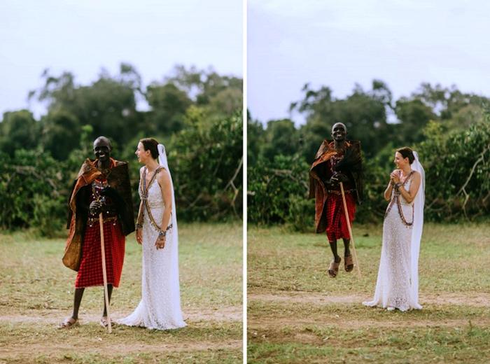 Невеста Нина и воин племени Маасаи.