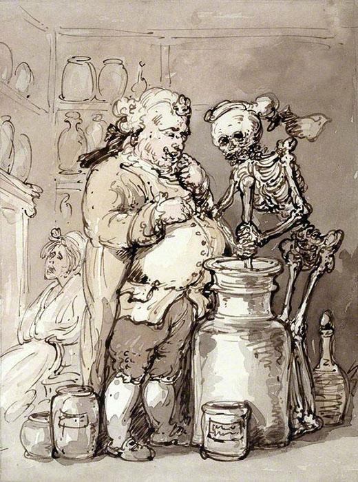 Смерть представлена ассистентом аптекаря - вместе они мешают *лекарства* для женщины, ожидающей немного поодаль. Автор: Thomas Rowlandson.