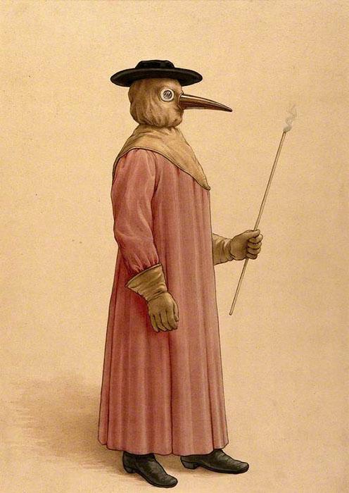 Доктор в костюме для защиты от чумы. Автор неизвестен, ок.1910 г.