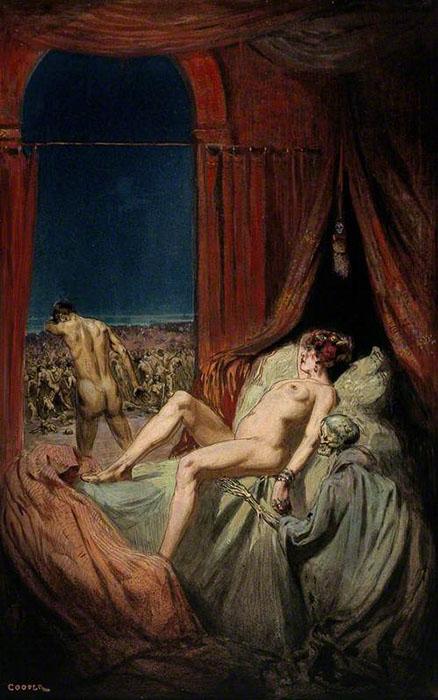 Обнаженная женщина смотрит в спину мужчине. Скелет в плаще в углу картины изображает собой сифилис. Автор: Richard Tennant Cooper.