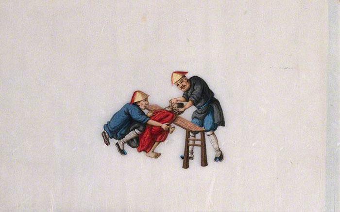 Китайские пытки: в ухо заключенному вкручивают острый инструмент. Автор неизвестен 1850 год.