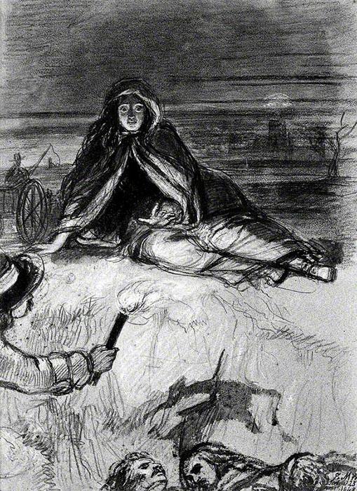 Женщина сидит на земле, смотрит на людей, убитых чумой. Автор: Edward Matthew Ward.