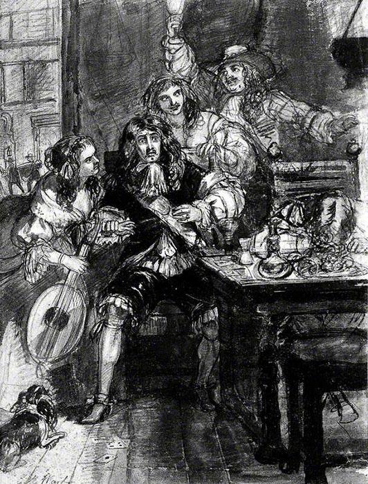 Мужчина в ужасе, так как понял, что только что заразился чумой. Автор: Edward Matthew Ward.