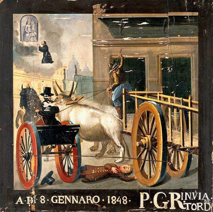 Мужчина молится Мадонне Дель Парто за мальчика, попавшего под колеса повозки с волами. Автор неизвестен 1848 год.