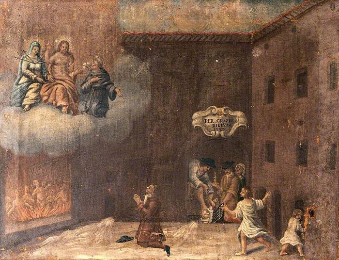 Мужчина молится Деве Марии и святым, прося о спасении ребенка, упавшего в яму. Автор неизвестен, 1727 год.