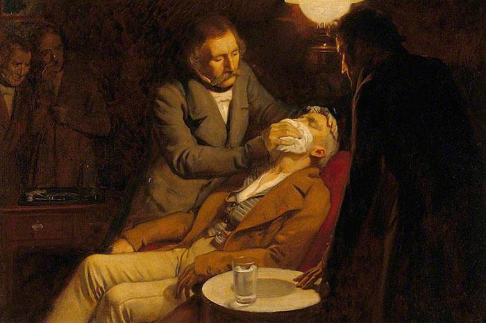 Первое использование эфира в стоматологии, 1846 год. Автор: Ernest Board.