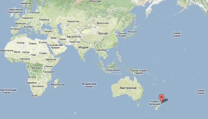Местоположение Зеландии на карте Земли.