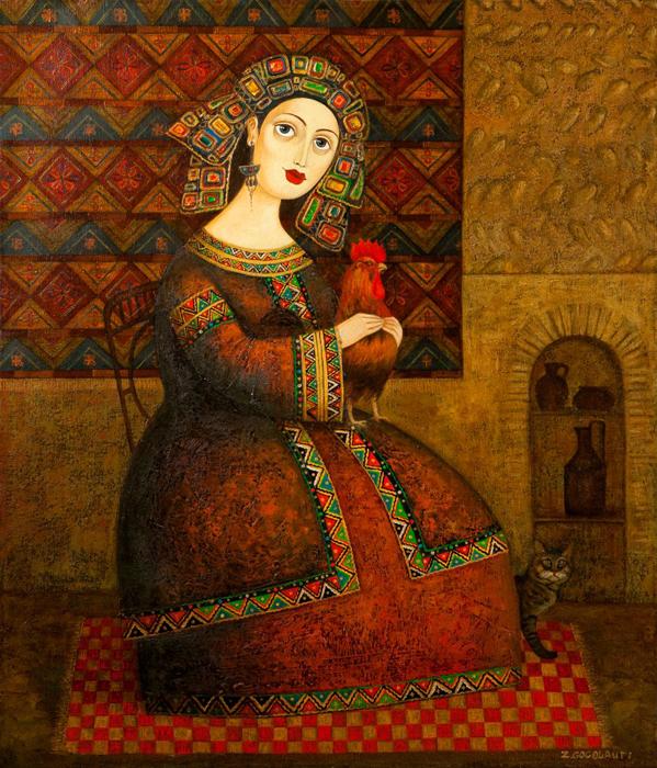 Женщина с петухом. Автор: Zviad Gogolauri.