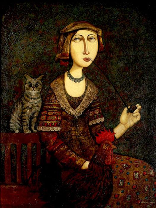 Женщина с котом. Автор: Zviad Gogolauri.