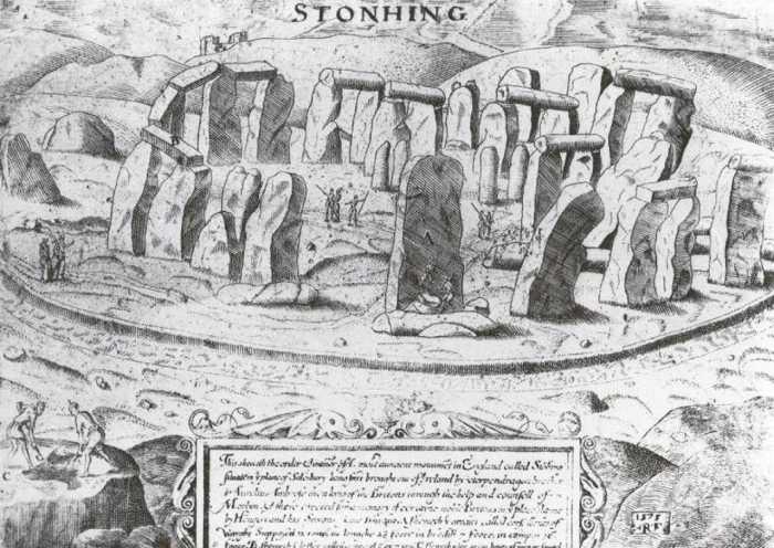 Средневековая гравюра, на которой изображён Стоунхендж.