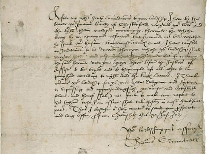 Одно из немногих сохранившихся писем Кромвеля.