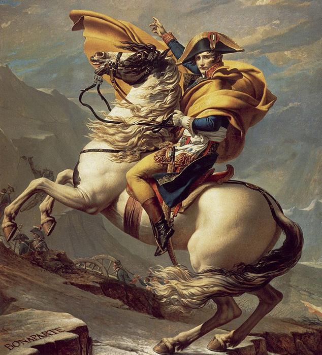 «Наполеон, переходящий Альпы» французского художника Жака Луи Давида.