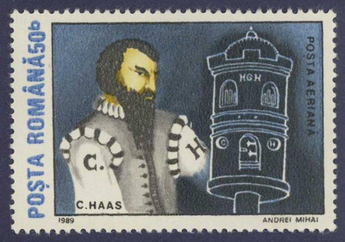 Почтовая марка с изображением Конрада Хааса и прообразом космического корабля.