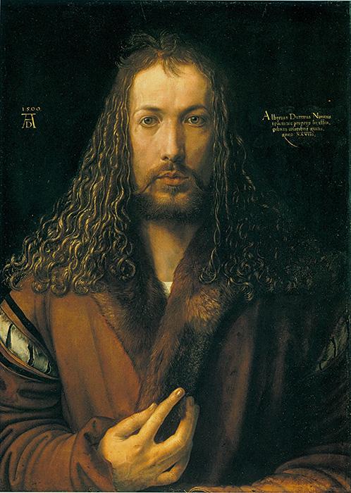 На автопортрете Альбрехта Дюрера (1500 г.) также есть надпись.