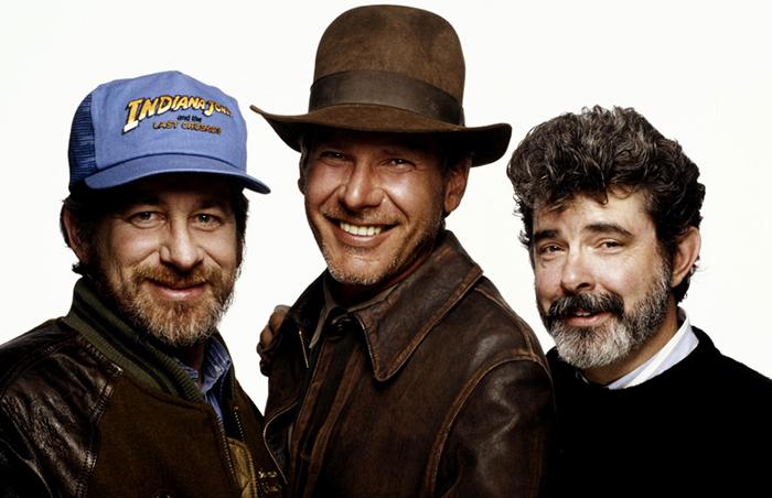 Легендарный Индиана Джонс с создателями культовой саги.