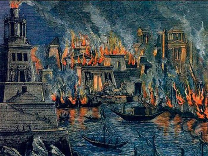 Пожар в Александрийской библиотеке.