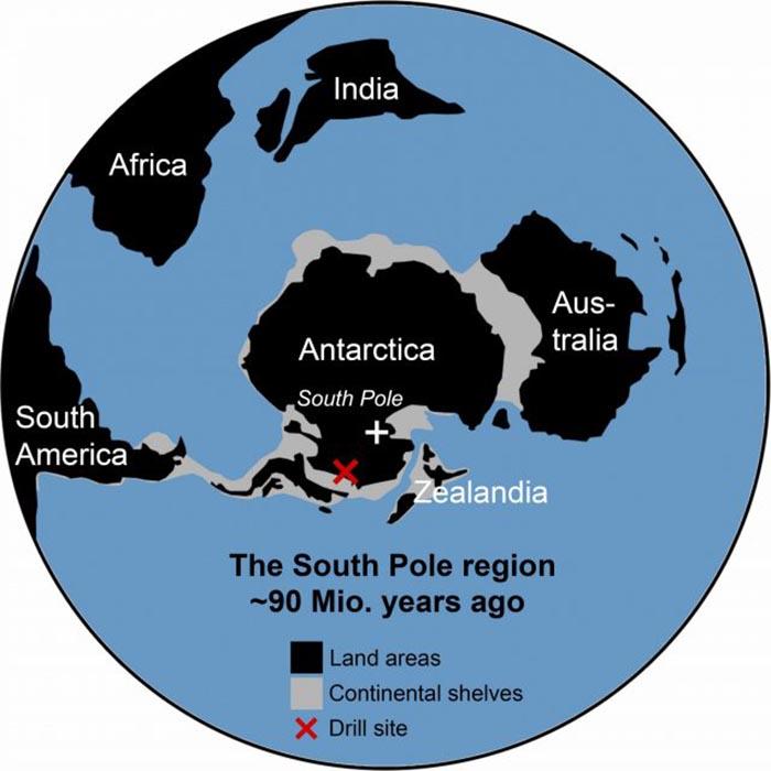 Упрощённая обзорная карта южной полярной области около 90 миллионов лет назад.