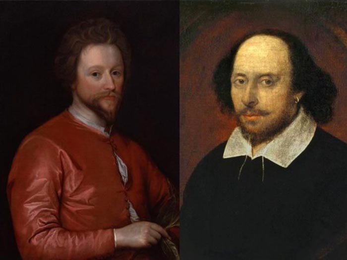 Джон Флетчер (слева) и Уильям Шекспир (справа) написали «Двух благородных родственников» около 1613 или 1614 года.