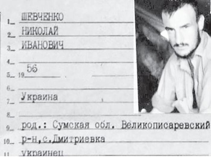 Удостоверение личности Николая Шевченко.
