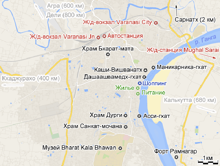 Храм Бхарат Мата на карте.