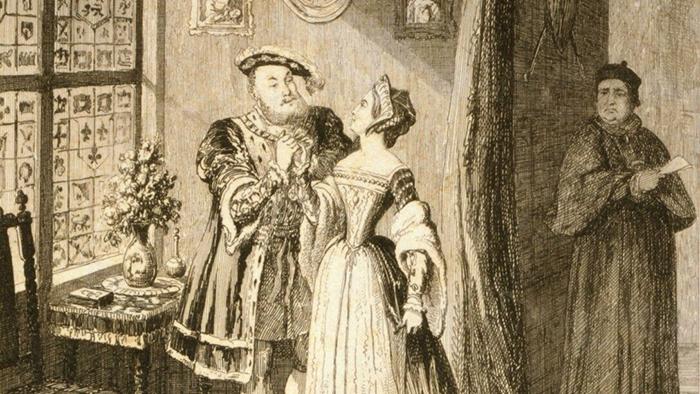 Свидание Генриха и Анны на старинной иллюстрации.