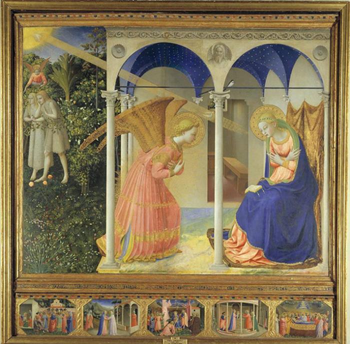 Фра Анджелико написал Благовещение на предыдущих алтарных произведениях; в них Мария и Гавриил были окружены богатством и роскошью.