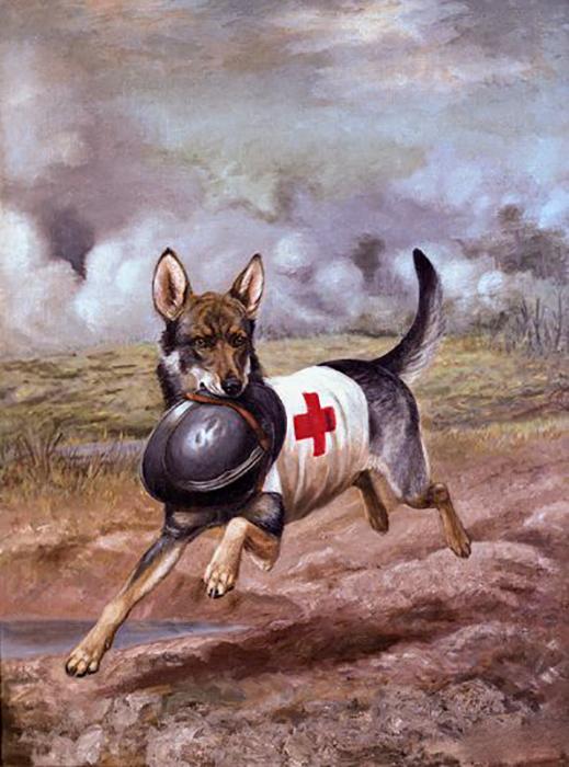 Картина Александра Поупа с изображением собаки Красного Креста с солдатской каской в зубах.