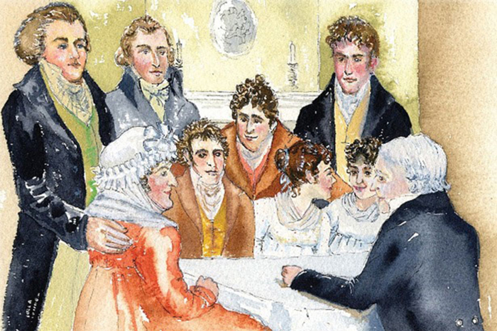 Иллюстрация на которой изображена семья Джейн Остин.