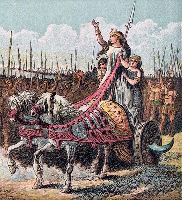 Боудикка приехала на последнее сражение на колеснице вместе со своими дочерьми.