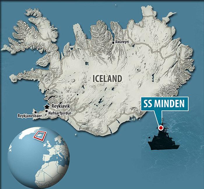 Месторасположение СС Минден у берегов Исландии.