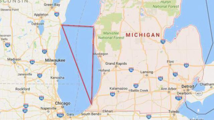 Границы треугольника озера Мичиган.