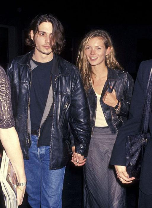 Джонни Депп и модель Кейт Мосс, 22 февраля 1994 год.