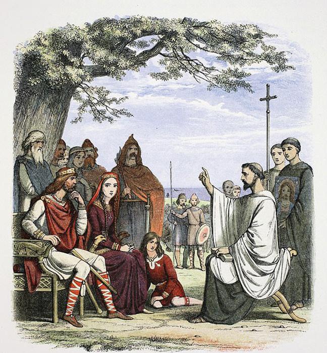 Святой Августин благословляет первых христианских правителей Нортумбрии.