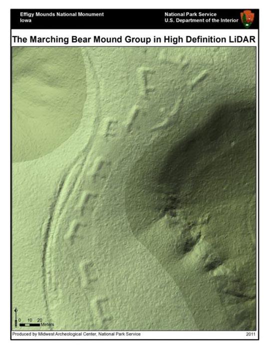 Снимок группы археологов, Национальный памятник Effigy Mounds, полученный с помощью LIDAR.