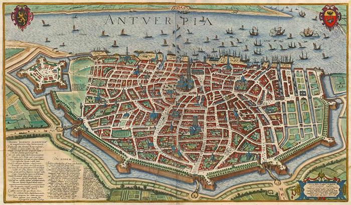 Карта Антверпена, 17 век.