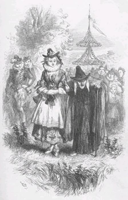 Две ведьмы Пендла, испытанные в Ланкастере в 1612 году, на иллюстрации из романа Уильяма Харрисона Эйнсворта 1849 года Ланкаширские ведьмы.