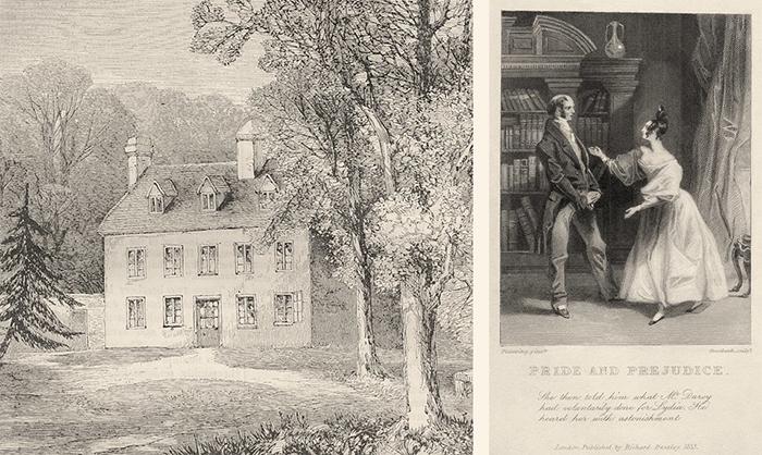 Изображения дома Джейн Остин и первая иллюстрация к роману «Гордость и предубеждение» 1830 года.