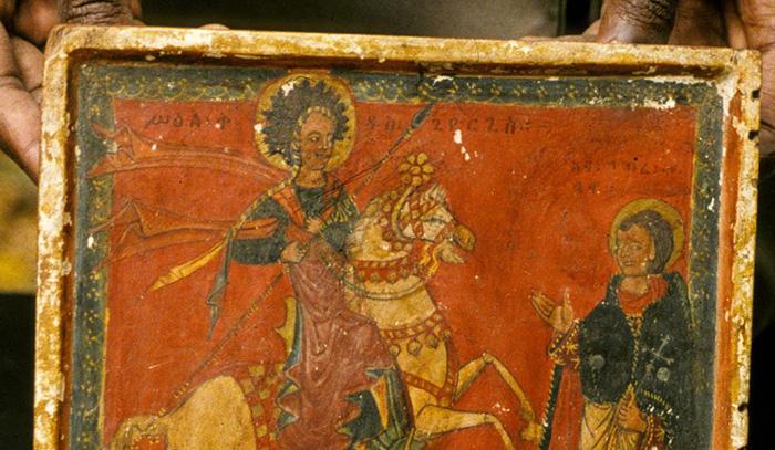 Правое крыло диптиха Святого Георгия, конец 15 или начало 16 века, Институт эфиопских исследований, Аддис-Абеба.