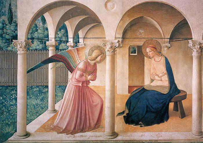 Фреска Фра Анджелико на стене монастыря Сан-Марко изображает знакомое библейское повествование.
