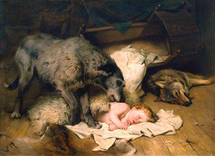 Легенда о Гелерте. Картина Чарльза Бертона Барбера, около 1890 года.