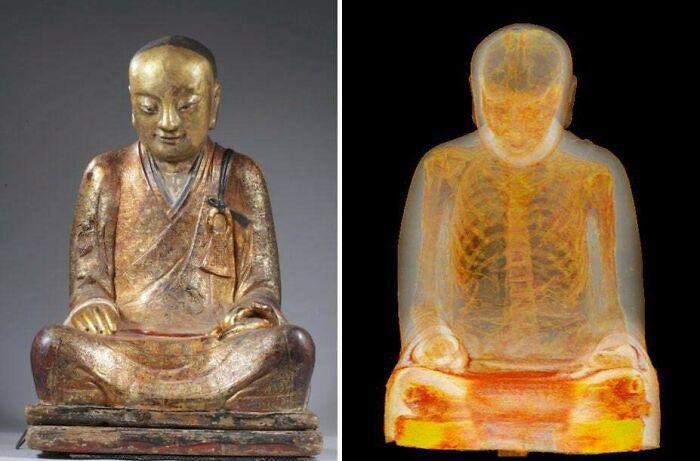 КТ-сканирование 1000-летней скульптуры Будды обнаружило спрятанного внутри мумифицированного монаха.