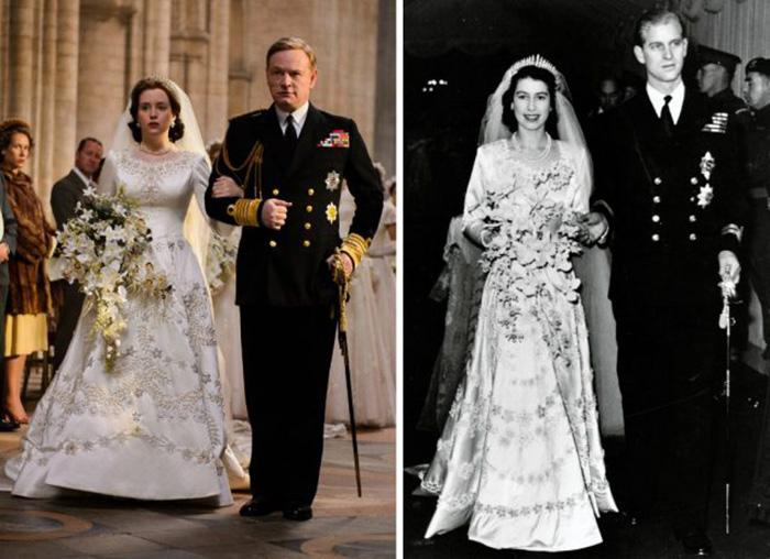 Клэр Фой (в роли королевы Елизаветы) и Джаред Харрис (в роли короля Георга VI) и настоящая свадьба 1947 год. / Фото: Netflix / MovieStills DB и Hulton Archive / Getty Images
