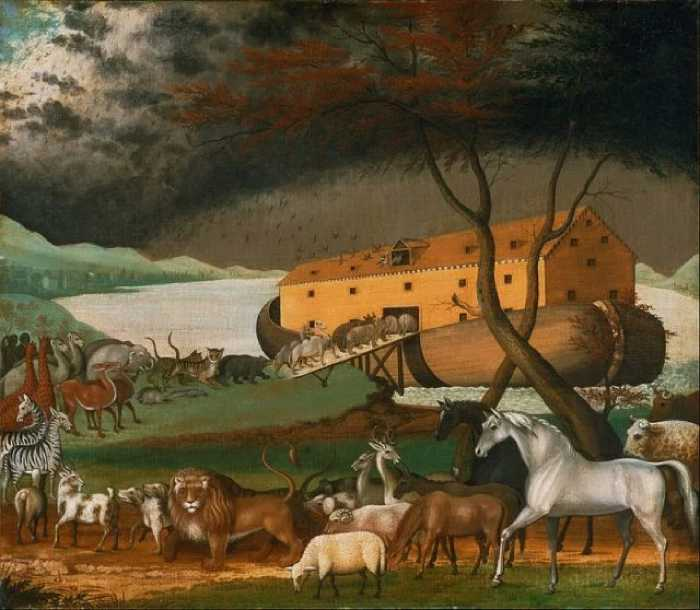 Ной собирает разных животных в ковчег.